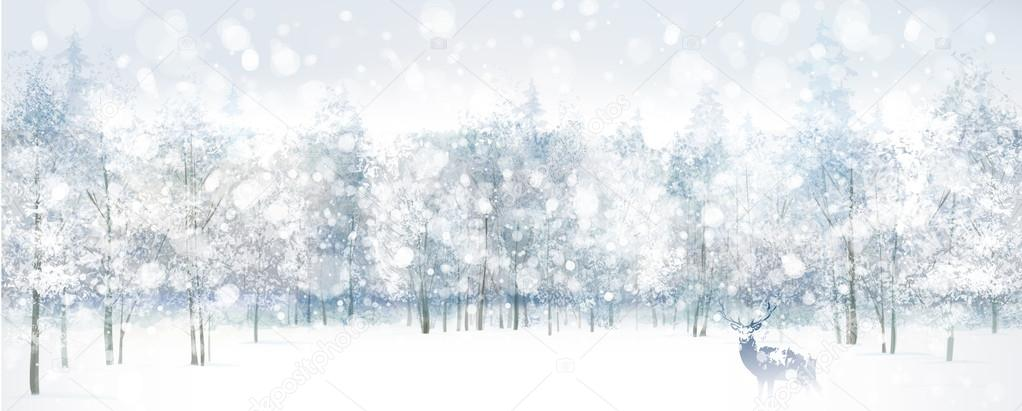 winter scene with deer stock vector rvika 35309831