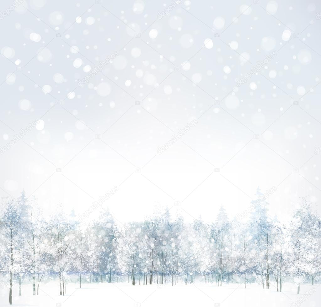 Winter scene with forest