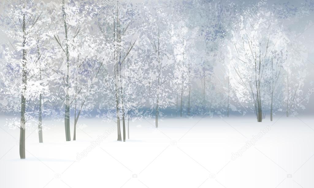 Фотообои Вектор зимний пейзаж.