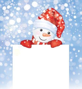 snowman hiding by blank