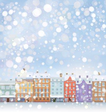 Winter wonderland cityscape.