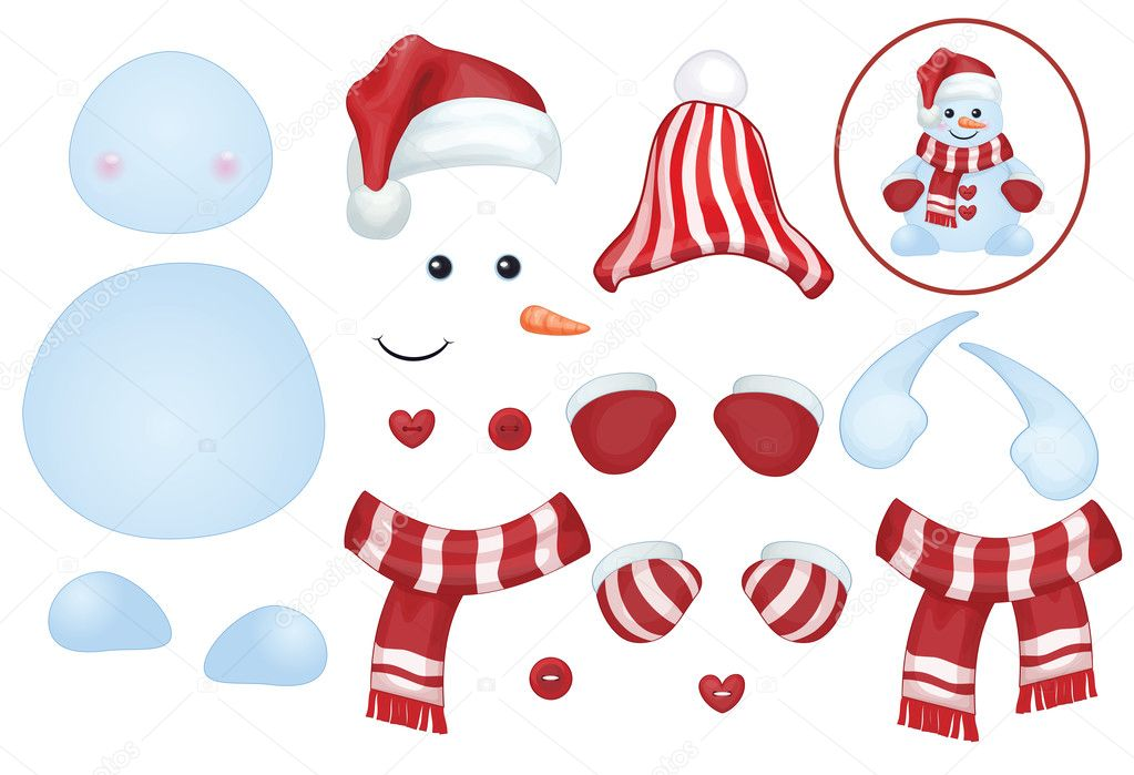 Snowman Template  Stock Vector  Rvika