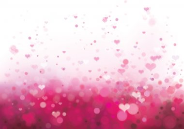 Pink background with hearts.