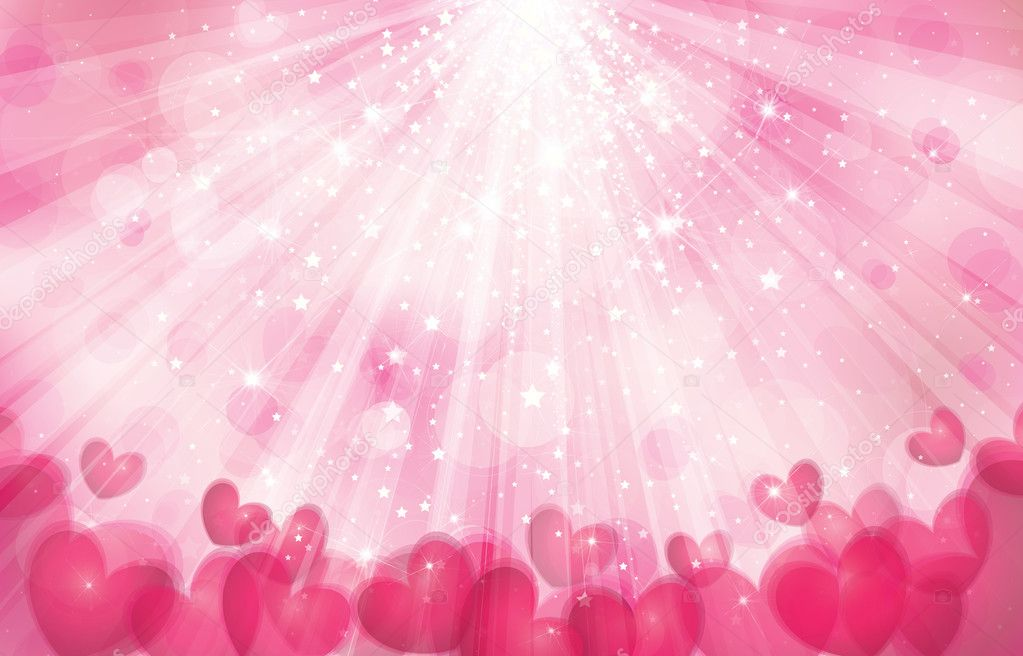 Vector pink background with lights, rays and hearts. clipart vector