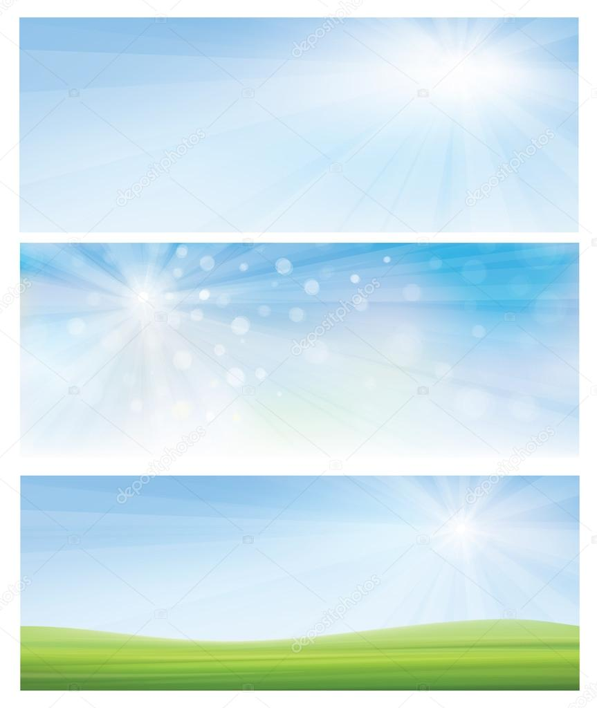 Vector spring banners, blue sky and green grass.
