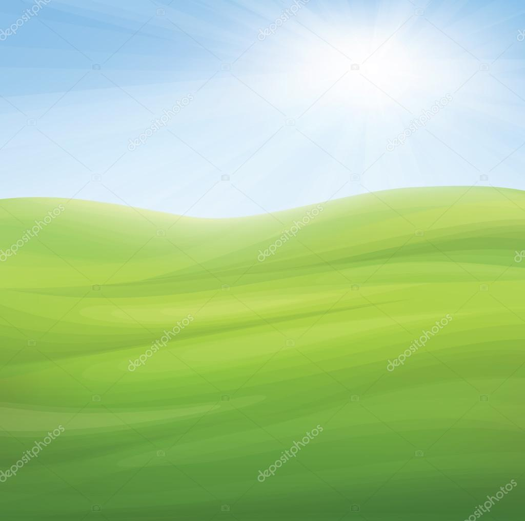Vector spring background, blue sky and green grass.