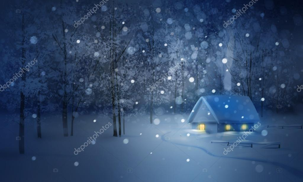 Winter  night landscape with house in  forest.