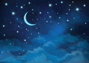 "Картина, постер, плакат, фотообои ""Векторный фон неба ночью звёзды и Луна."", артикул 46593393"
