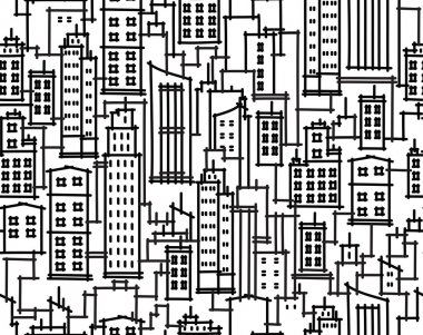 Vector seamless pattern of cityscape.