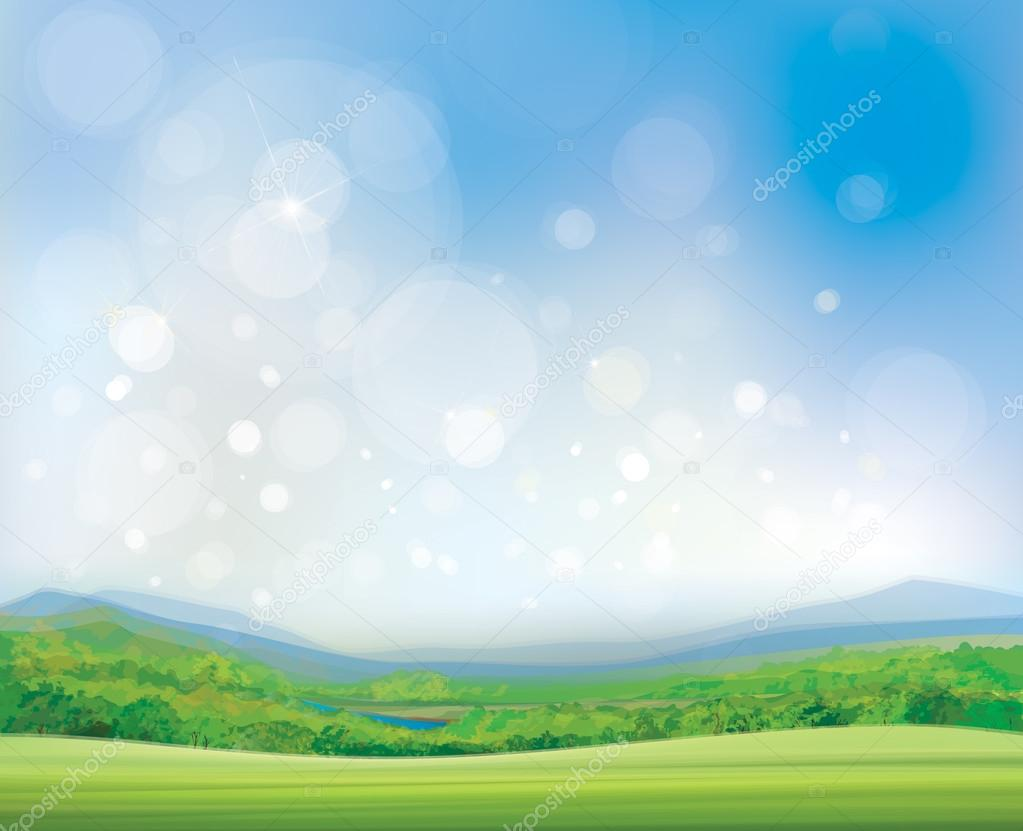 Vector summer landscape,  beautiful, sunny day.