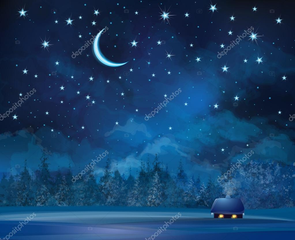 House on starry sky background and forest