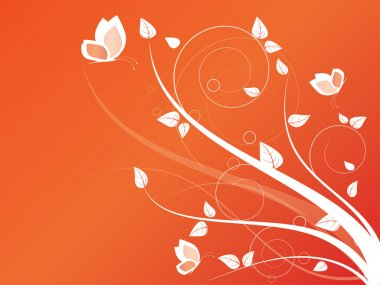 Floral seasonal background with swirls