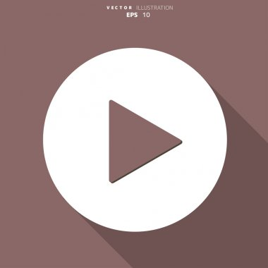 Play button web icon, flat design