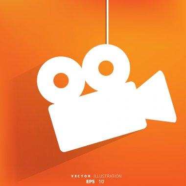 Video-camera web icon, flat design