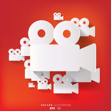 Abstract background with video-camera web icon, flat design