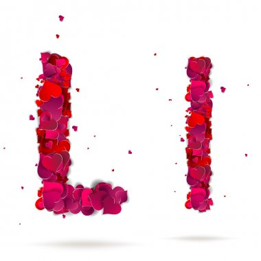 Letter l made from hearts. Love alphabet