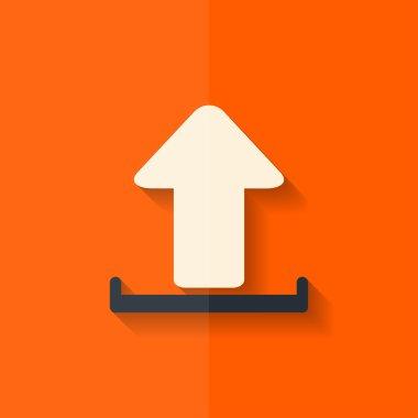 Upload icon. Send file. Flat design.