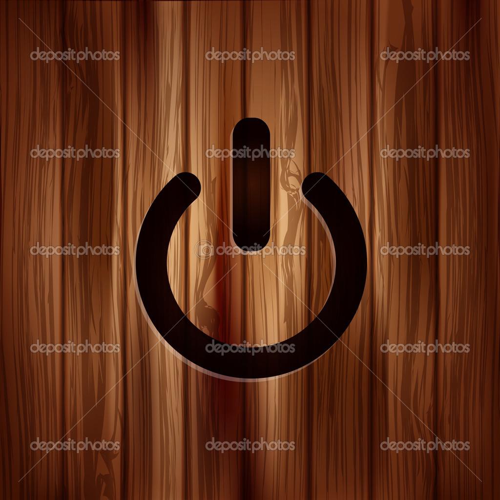 ein/aus-Schalter-Symbol. Energie Symbol. Holz Textur — Stockvektor ...