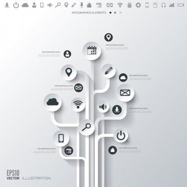 """Картина, постер, плакат, фотообои """"иконное дерево. плоский абстрактный фон с веб-иконками. символы интерфейса. облачные вычисления. мобильные устройства. концепция бизнеса ."""", артикул 49052613"""