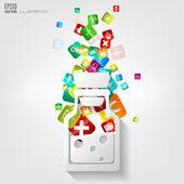 Fotografie lékařské pozadí abstraktní s aplikací ikony