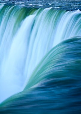 Close up of water rushing over Horseshoe Falls, Niagara Falls, O