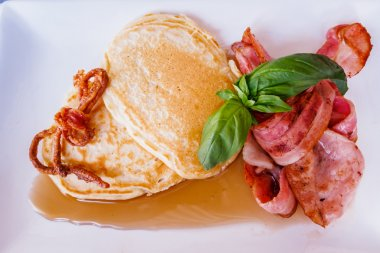 Bacon Pancakes with Maple Syrup