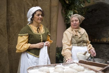 Bakers. Participants of medieval costume party