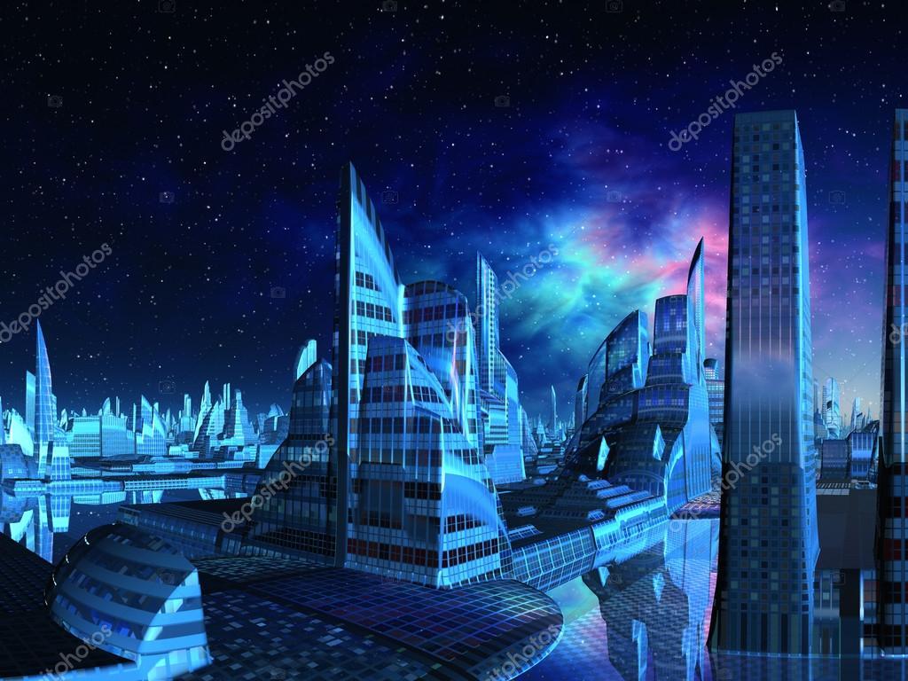 Futuristic Alien City from the Marina
