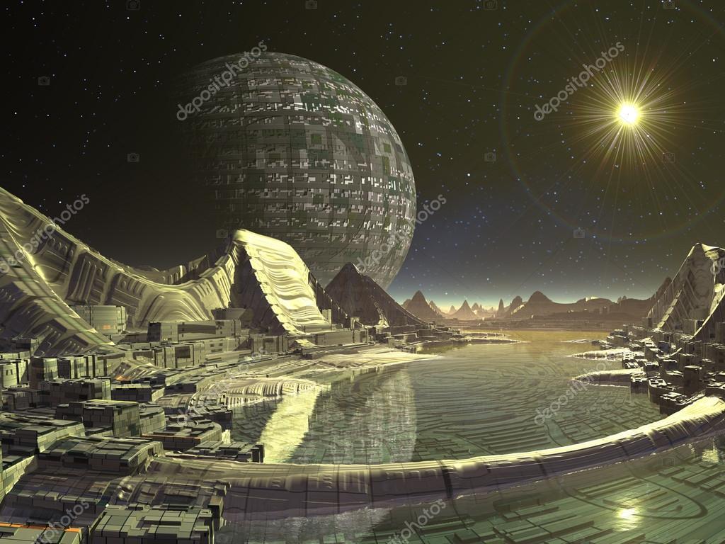 Futuristic City on Alien Water World
