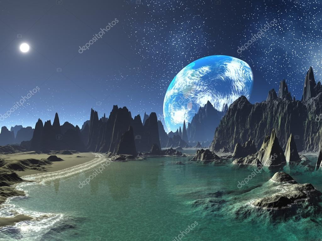 earth-rise from alien shores — stock photo © spinningangel #18472677