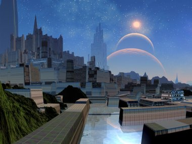 Futuristic City on Alien World