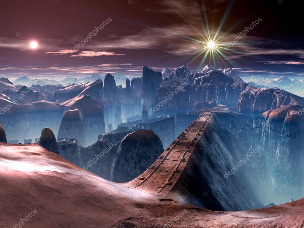 Futuristic Bridge over Ravine on Alien World