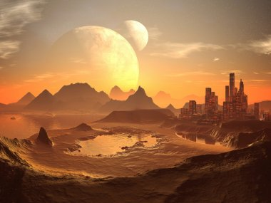Twin Moons over Desert City with Pyramids