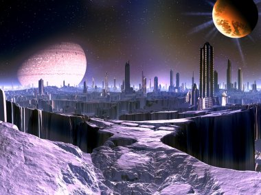 City on Dying Alien World with Satellite Ship in O