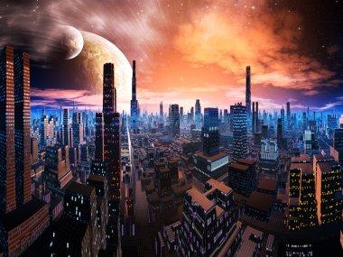 Neon Lit Cityscape on Distant World