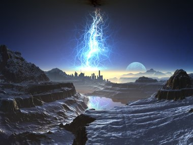 Lightning Storm over Ancient Alien City Landscape