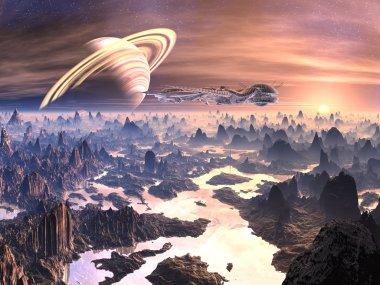 Alien Spacecraft above Hostile Terrain