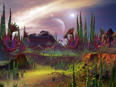 Strange Plant Formations in an Alien Garden