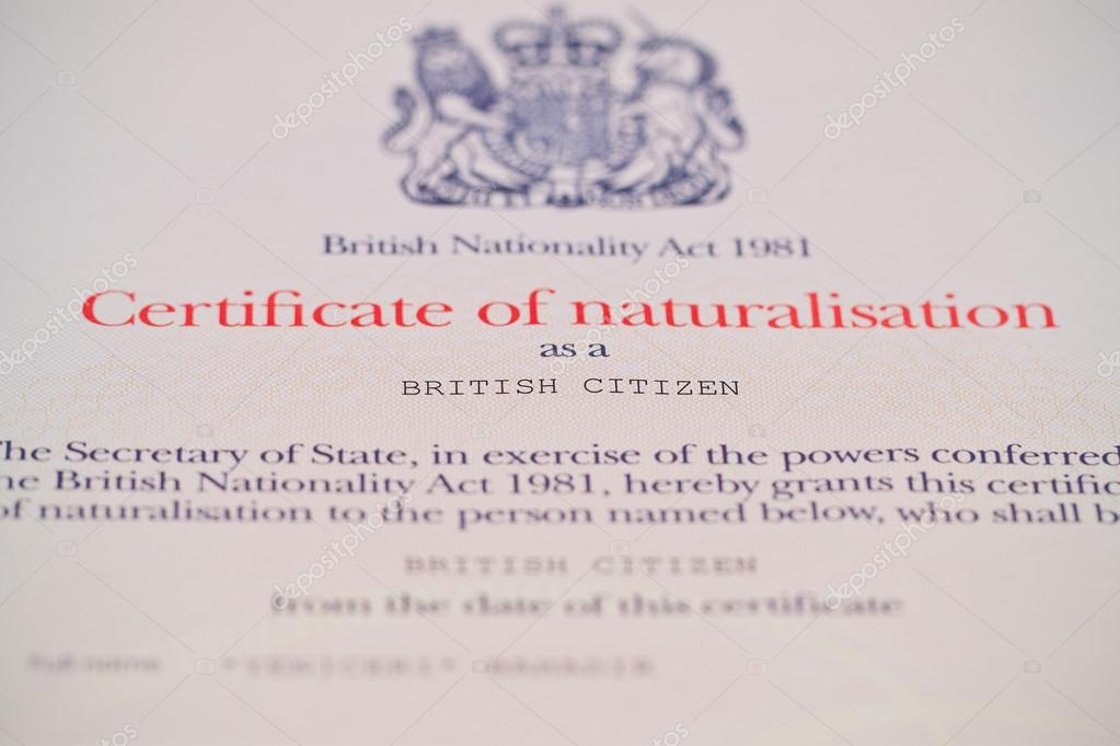 British Citizenship Certificate Stock Photo Suzbah 19894871