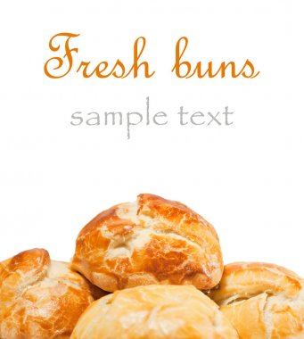 Fresh buns on white background. With sample text