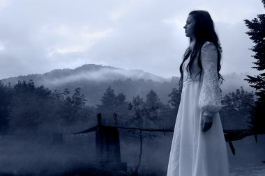 Mysterious Woman in White Dress - horror