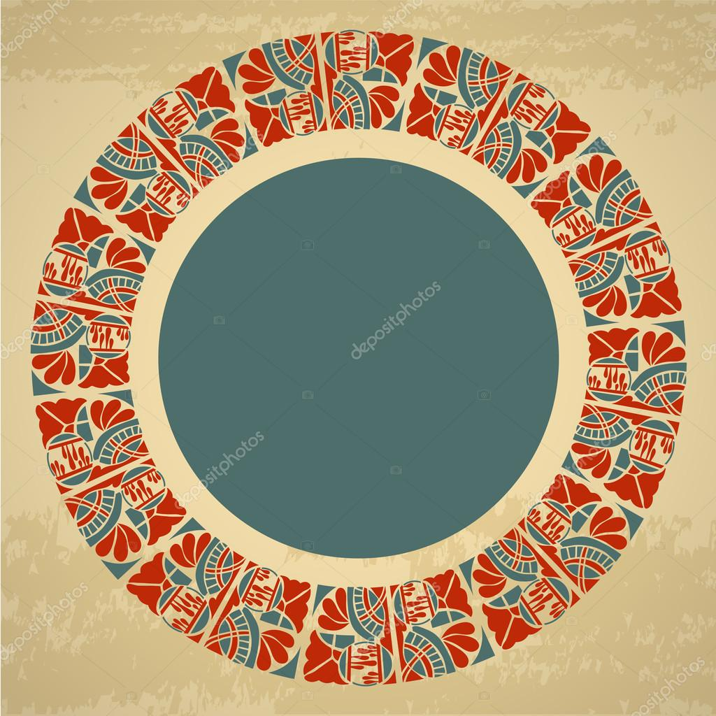 Ornamental round floral pattern with text frame