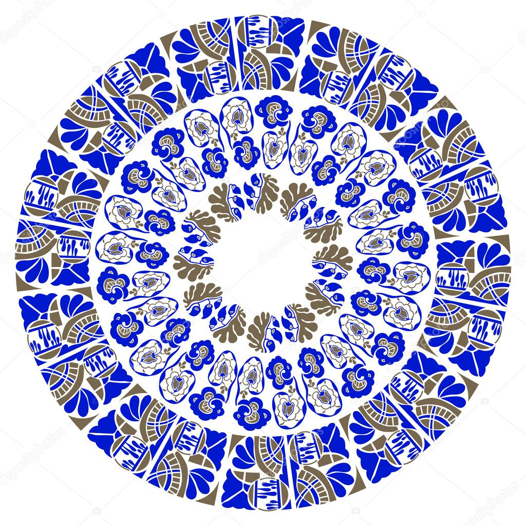 Blue ornamental round floral pattern