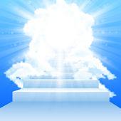 Fotografie Treppe führt in den Himmel mit Wolken im Himmel