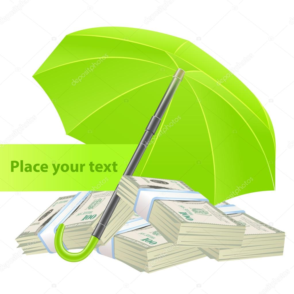 Protection concept with umbrella and money