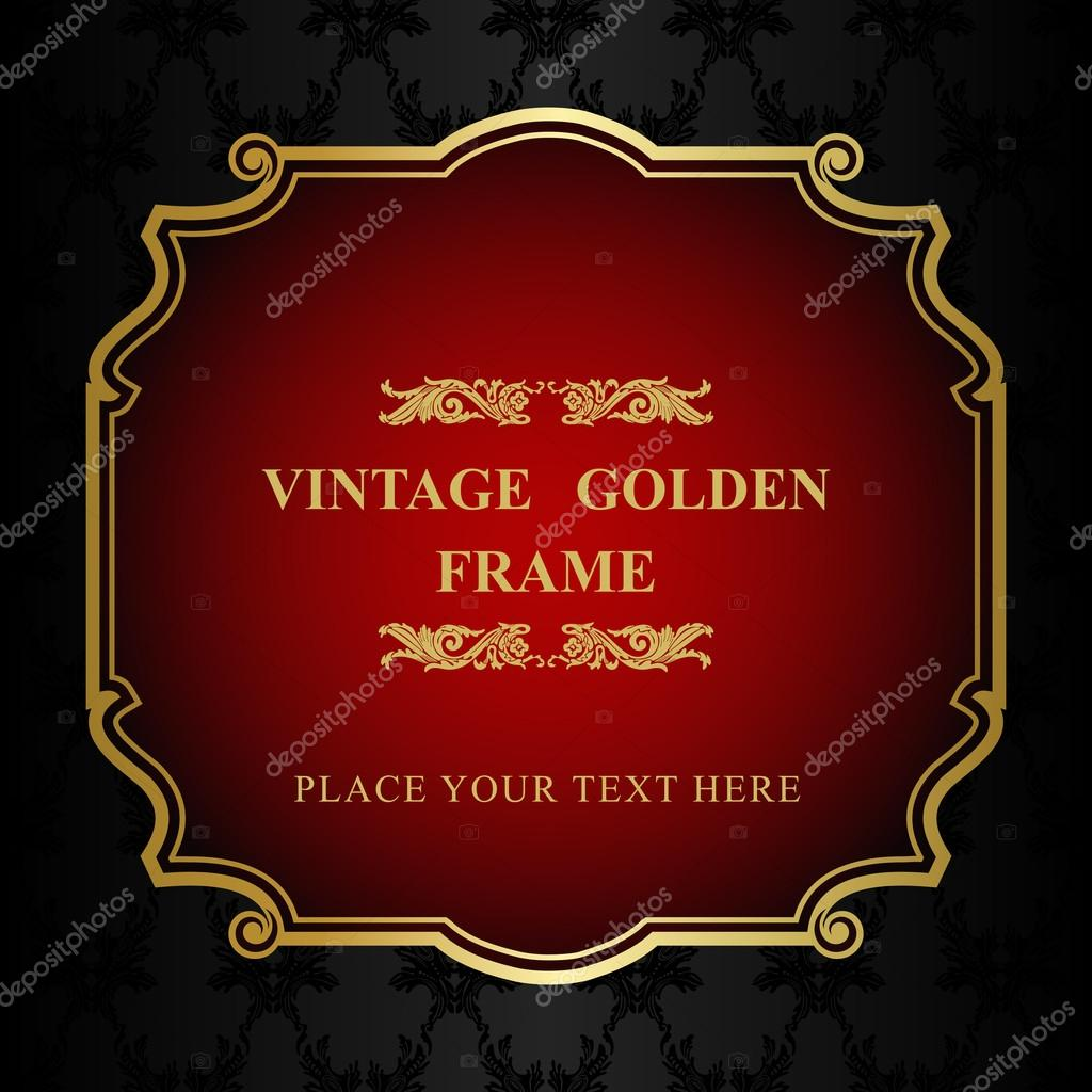 Royal Gold Picture Frame On The Dark Wallpaper Stock Vector