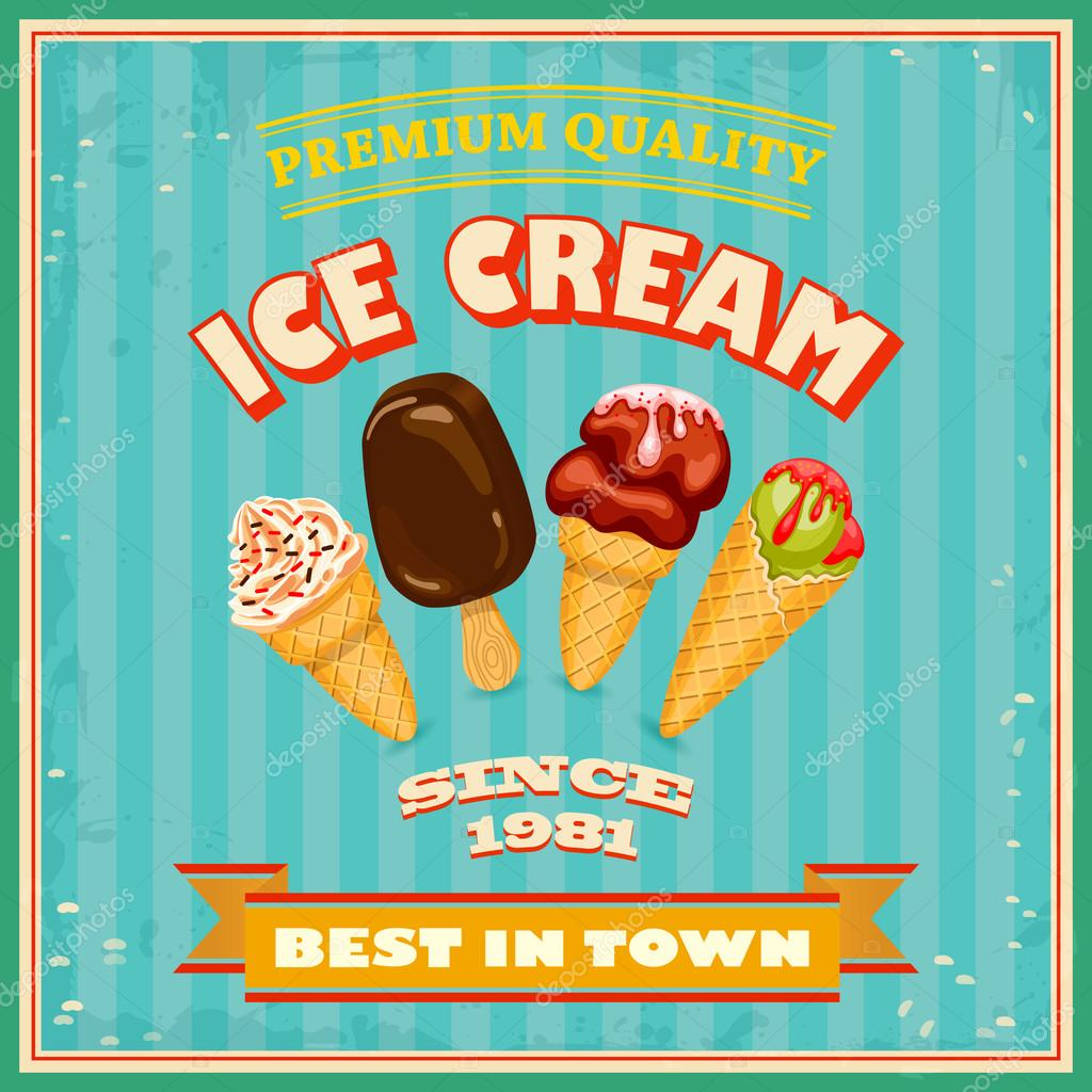 Carteles vintage helados cartel vintage helado vector de stock asakosakura 42205805 - Carteles retro ...