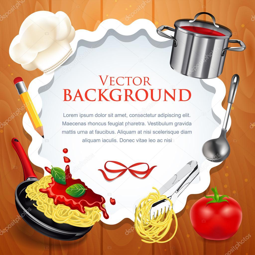 diseño creativo de la tarjeta de receta con concepto de cocina ...