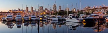 Panorma of Vancouver BC With boat harbor