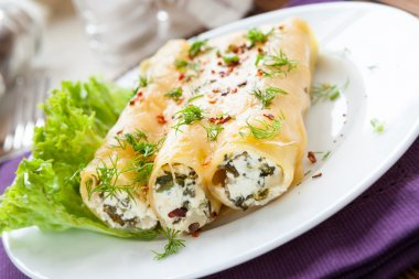 Italian cannelloni with soft cheese